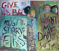 Rune Lundmark This painting is a child of its time. It reflects the growing protests directed against the U.S.  during the Vietnam war. But this is not a direct comment on this war, but rather a pacifistic  outcry against the cruelty of all wars.