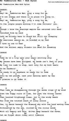 Song Mr Tambourine Man by Bob Dylan, with lyrics for vocal performance and accompaniment chords for Ukulele, Guitar Banjo etc.