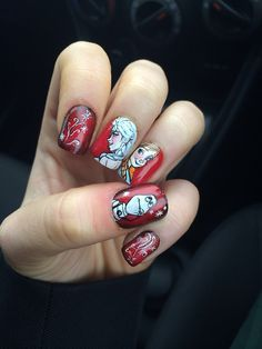 Red themed Frozen nail art! This Pinterest find is AWESOME!