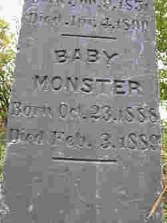 Baby Monster.   Born Oct. 23, 1888. Died Feb. 3, 1889. Saar Pioneer Cemetery, Kent, Washington, USA