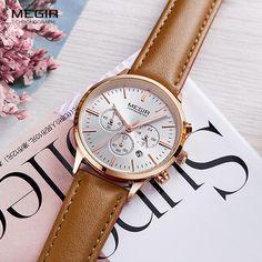 Megir Chronograph Date Indicator Brown Leather Strap Quartz Wrist Watch for  Women Ladies Fashion Gold Rose Wristwatch a6f5b570f5dec