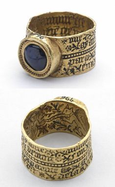 Love-ring with play on grammar, made in France or England in the 15th century #antiquejewelry