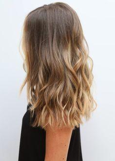 medium sombré wavy haircut