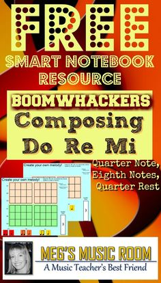 Solfege Do Re Mi Composing with quarter note, two eighth notes, and quarter rest. Color coded for boomwhackers. #musicteacher #rhythmlesson #free #solfege #doremi #doadeer #pitchlesson #boomwhackers