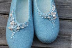 """Купить Тапочки валяные """"Фиджи"""" - голубой, тапки валяные, туфли домашние, тапки из шерсти"""