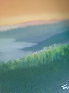 Alba sul lago 50x70 cm Luigi Torre