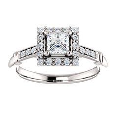 14kt White Gold 4mm Center Square Genuine Diamond (Color G-H, Clarity I2) or 16 Halo Diamonds (Color I-J, Clarity I1) and 6 Accent Diamonds (Color I-J, Clarity I1) Ring...(ST71629:975:P).! Price: $849.99