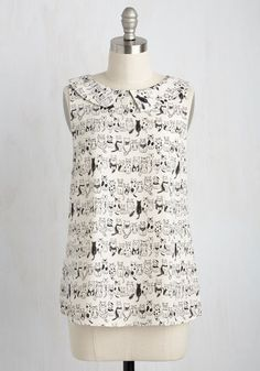 To the Nines Top in Kitties, @ModCloth