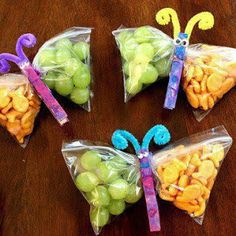 cute butterfly presentation idea - clothespin! I may need to make some of these to take snacks to work :)