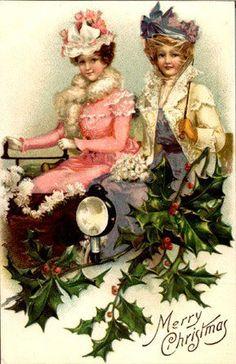 Christmas Transportation Vintage Cards for Xmas and Holidays,  Vintage Transport -  Transportation - Vintages Cards -  transport, car, transportation, menhorses, vintage, xmas, christmas, holidays, free, clipart,