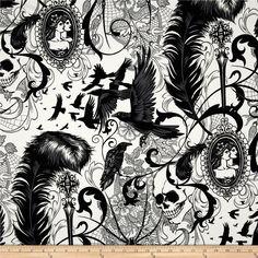 After Dark Skull & Spider Natural - Discount Designer Fabric - Fabric.com