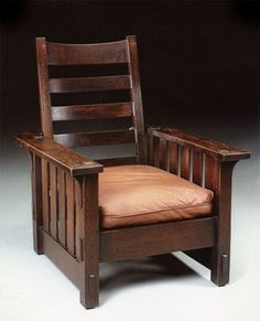 "Inspired by William Morris, among other British design reformers, he worked in a simple craft-based aesthetic, using solid oak and forthright construction; this is his ""Morris"" chair"