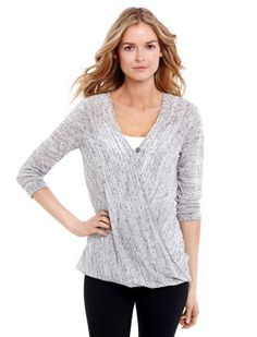 <li>jessica simpson nursing top <li>3/4 sleeve <li>v-neck <li>pull over   nursing function <li>wrap <li>rayon/ spandex <li>jersey knit <li>machine washable <li>imported