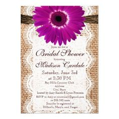 DealsBurlap Purple Daisy Bridal Shower Invitations Custom InvitationThis site is will advise you where to buy
