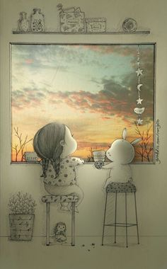 There's a moment I become thankful because I am not alone. It's so precious when I can see the beautiful sky with you. Pencil Art Drawings, Art Drawings Sketches, Cute Drawings, Art And Illustration, Anime Kunst, Anime Art, Cute Art, Illustrators, Artwork
