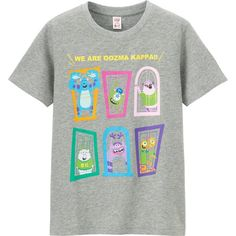 UNIQLO Utgp Pixar Graphic Tee ($7) ❤ liked on Polyvore featuring tops, t-shirts, grey, grey t shirt, graphic design tees, graphic tees, uniqlo t shirts and grey tee