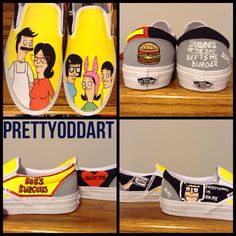Bob's Burgers Handpainted Shoes by PrettyOddArt on Etsy https://www.etsy.com/listing/200419507/bobs-burgers-handpainted-shoes