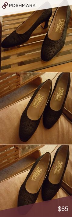Beautiful black Ferragamo heels EUC, black pattern heels by Ferragamo. Slightest golden pattern, absolutely gorgeous. Perfect to pair with your holiday attire. Only a small scuff on one of the heels, which is hardly noticeable. Made in Italy. Great find. Ferragamo Shoes Heels