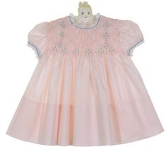 Vintage Polly Flinders Pink Smocked Dress with Blue Embroidery and Lace Trim,vintage Polly Flinders smocked dress,baby girls vintage pink smocked dress,vintage pink smocked dress for baby girls Vintage Baby Dresses, Baby Girl Dresses, Vintage Style Outfits, Vintage Clothing, Girl Outfits, Smocked Baby Clothes, Old Baby Clothes, Smocking Plates, Christening Outfit