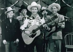 "Roy Rogers on the set of ""Song of Arizona"" in 1946. Also pictured Tim Spencer, Bob Nolan, Ken Carson, & Karl Farr. (Photo from Theresa Sevigny Scott Collection)"