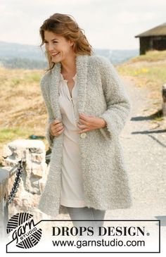 """Ravelry: Jacket with shawl collar in """"Puddel"""" pattern by DROPS design, 10 stitches and 14 rows = 4 inches in stockinette stitch Knitting Stitches, Knitting Patterns Free, Knit Patterns, Free Knitting, Free Pattern, Finger Knitting, Knitting Tutorials, Knitting Machine, Crochet Jacket"""