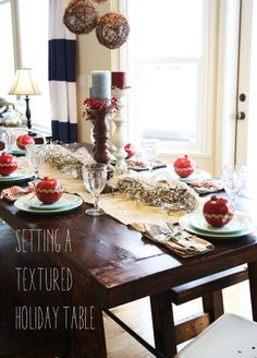 setting a textured holiday table.