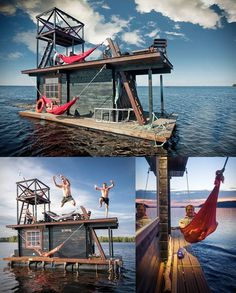 What is it about a boat house that captivates and insires out immagination so greatly? Pontoon Houseboat, Houseboat Living, Pontoon Boat, Floating Dock, Floating House, Party Barge, Floating Architecture, Container Architecture, Shanty Boat