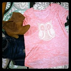 Like new* Aeropostale Owl tee! Worn once! Lightweight, bright coral color! Long in the back shorter in the front! Aeropostale Tops Tees - Short Sleeve