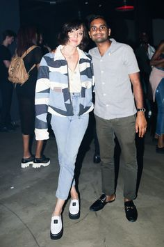 ESPRIT for Opening Ceremony Launch Party from Party Pics: New York  Parks and Rec reunion! Former co-stars Aubrey Plaza and Aziz Ansari hang out at the New York Fashion Week bash sponsored bySVEDKA Vodka.