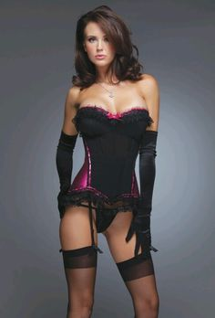 I really like this one - not too much frills or bows, mostly black with just a touch of fuchsia - very very sexy! Coquette Canas Corset In Black & Fuchsia - Beyond the Rack Pretty Lingerie, Beautiful Lingerie, Women Lingerie, Sexy Lingerie, Lingerie Underwear, Little Presents, Glamour, Up Girl, Color Negra