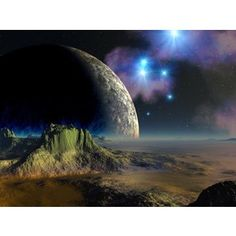 Alien Planet Desktop | Moon Setting On Alien Planet Desktop Background - Polyvore