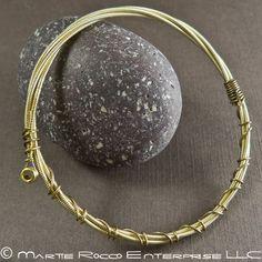 Guitar String bangle bracelet bronze wound, brass wire wrap.  GS11-11   MartieRocco - Jewelry on ArtFire