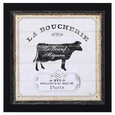 """Weathered wall decor with a French market-inspired motif.   Product: Wall decorConstruction Material: Wood and glassColor: Black frameFeatures:  Made in the USAReady to hang Dimensions: 14"""" H x 14"""" W x 1.5"""" D"""