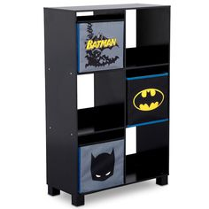 The DC Comics Batman Deluxe Deluxe Storage Unit keeps toys, books, or games, organized and at the ready. The unit features a sturdy wood frame with six open cubbies and includes three bonus storage bins printed with Batman graphics. Cool Bookshelves, Kids Bookcase, Cubby Storage, Locker Storage, Batman Bedroom, Superhero Room, Cube Unit, Cube Organizer, Delta Children