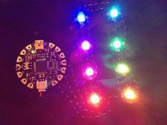 Wearable electronics using LilyPad Arduino and RGB LEDs.