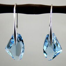 Aqua Blue Crystal Drop white gold plated Earrings jewelry Fashion gift