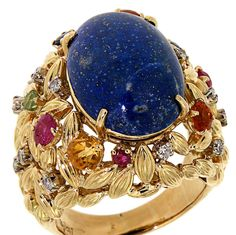 Citrine Lapis Sapphire Ruby Diamond Gold Ring | From a unique collection of vintage cocktail rings at https://www.1stdibs.com/jewelry/rings/cocktail-rings/