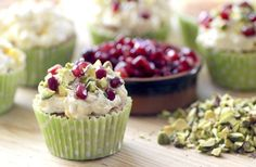 Cardamom & Pomegranate cupcake by Yasmin Limbert: The Great British Bake Off - season 2 episode 1 Baking Cupcakes, Fun Cupcakes, Cupcake Cakes, Rose Cupcake, Cup Cakes, Cupcake Flavors, Cupcake Recipes, Cupcake Ideas, No Bake Desserts