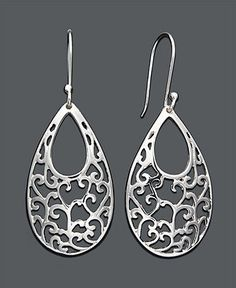 Giani Bernini Sterling Silver Earrings, Open Filigree Drop - Earrings - Jewelry & Watches - Macy's