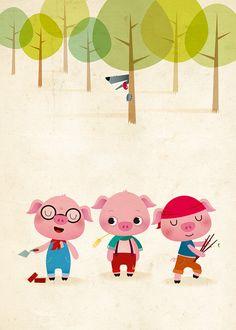 Three little pigs kids illustration nursery by IreneGoughPrints