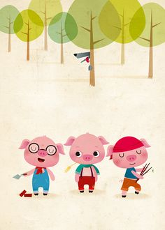 Three little pigs kids illustration nursery by IreneGoughPrints