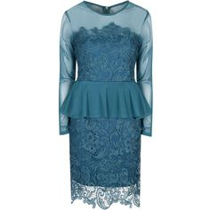 **Alice & You Teal Lace Peplum Dress ($44) ❤ liked on Polyvore featuring dresses, blue, blue zipper dress, alice & you, lace dress, zipper dress and zip dress