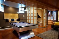 Lower level living space in Chicago - contemporary - basement - chicago - Airoom Architects-Builders-Remodelers