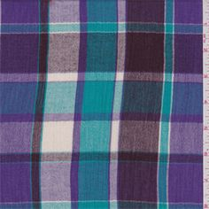 Turquoise Blue/Purple Plaid Gauze - 34285 - Fabric By The Yard At Discount Prices