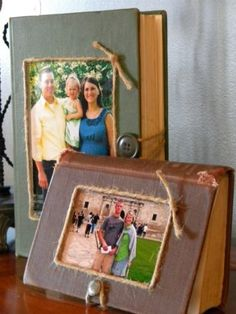 Old Books turned into Picture Frames -- what a great idea for using my old books! Old Books turned into Picture Frames -- what a great idea for using my old books! Diy Old Books, Old Book Crafts, Book Page Crafts, Paper Crafts, Diy With Books, Diy Photo, Cadre Photo Diy, Photo Craft, Recycled Home Decor