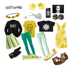 """""""Undertale: Flowey"""" by notasupervillian ❤ liked on Polyvore featuring Aéropostale, Balmain, Chicwish, BucketFeet, Marc by Marc Jacobs, Daisy Jewellery, Blumarine, Pearls Before Swine, Söfft and TOMS"""