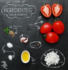Ingredientes para una salsa de tomate frito casero