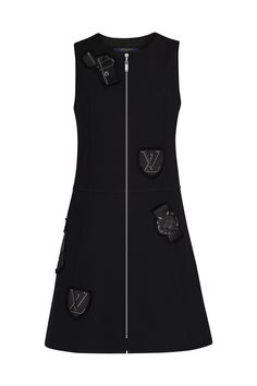 Sleeveless Zipped A-Line Dress With Embroidered Patches - Ready-to-Wear High Fashion Dresses, Fashion Outfits, Womens Fashion, Fashion Fashion, Runway Fashion, Fashion Trends, Louis Vuitton Dress, Fashion Books, Ladies Dress Design