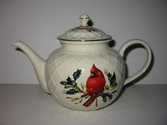 Lenox China Winter Greetings Carved Cardinal Teapot New in Box | eBay