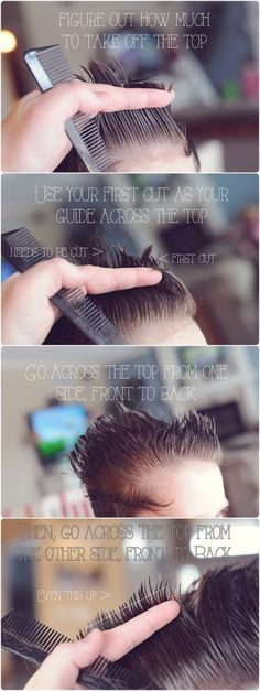 DIY: Boys' Haircut And because I know lots of other moms with little boys who would also love to save those trips to the salon, here's a quick tutorial on how to do a basic little boys' haircut. Kids Hairstyles Boys, Little Boy Hairstyles, Toddler Boy Haircuts, Diy Hairstyles, Toddler Boys, Wedding Hairstyles, Hairstyle Men, Teen Boys, Formal Hairstyles